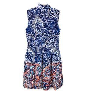 Tahari Dresses - Tahari | Navy & Orange Mock Neck Sleeveless Dress